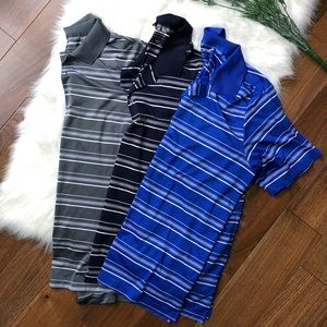Adidas Men's 3 Pack Striped Polo Golf Pure Motion